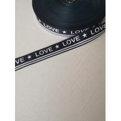 "Austa juostelė ""Love juoda su baltu"""